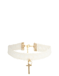 Asos Limited Edition Heart Lace Cross Choker Necklace Cream