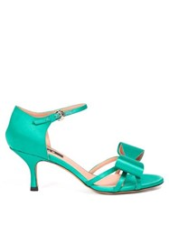Rochas Bow Trim Satin Sandals Green