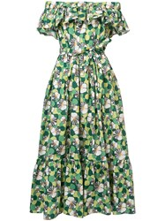 La Double J Floral Shift Off Shoulder Dress Women Cotton One Size Green