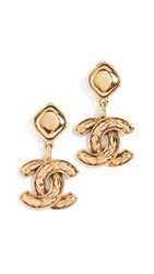Wgaca What Goes Around Comes Around Chanel Quilted Dangle Earrings Gold