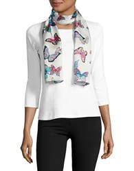 Echo Silk Polka Dot And Butterfly Scarf White