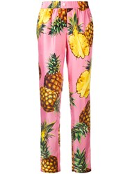 Dolce And Gabbana Pineapple Print Trousers Pink Purple