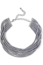 Kenneth Jay Lane Rhodium Plated Faux Pearl Choker Silver