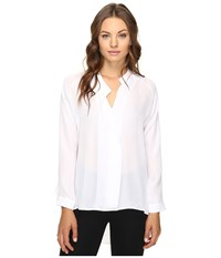 Heather Long Sleeve Silk Collared Blouse White Women's Clothing