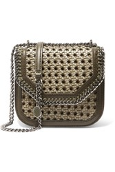 Stella Mccartney The Falabella Box Mini Woven Faux Leather Shoulder Bag Army Green