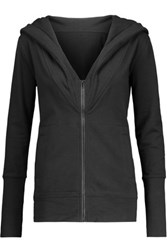 Norma Kamali Cotton Blend Hooded Sweatshirt Black