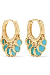 Jacquie Aiche 14 Karat Gold Turquoise Hoop Earrings