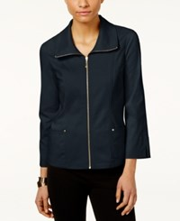 Jm Collection Zip Front Jacket Only At Macy's Intrepid Blue