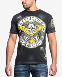 Affliction Men's Los Alamos Pieced Graphic Print T Shirt Black Brush Bleach