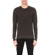 The Kooples Zip Detail Wool Jumper Kaki