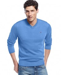 Tommy Hilfiger Big And Tall Men's Signature Solid V Neck Sweater Bright Blue