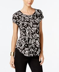 Alfani Printed Short Sleeve Top Only At Macy's Black White