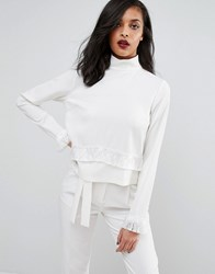 Minimum High Neck Top With Sleeve Detail Ivory Cream