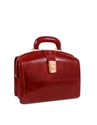 Pratesi Ladies Polished Italian Leather Briefcase Dark Brown