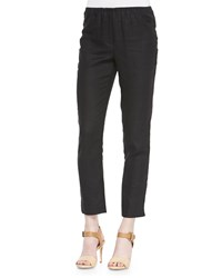 Neiman Marcus Skinny Ankle Linen Pants Black