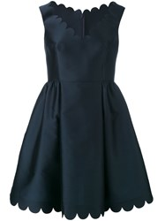 Red Valentino Scalloped Detail Flared Dress Women Silk Polyester Acetate 38 Blue