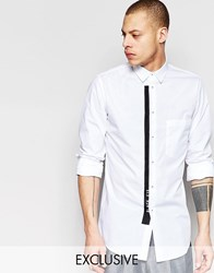 Black Eye Rags Shirt With Front Pocket And Contrast Taping White