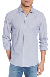 Culturata Slim Fit Crinkle Stripe Sport Shirt Navy