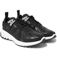 Neil Barrett Molecular Leather Nubuck And Suede Sneakers Black