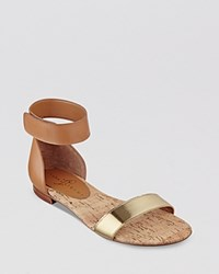 Ivanka Trump Flat Open Toe Ankle Strap Sandals Sunny Tan Gold