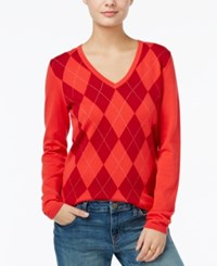 Tommy Hilfiger Ivy V Neck Argyle Sweater Only At Macy's Poinsettia