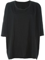 Y's Oversized Creased T Shirt Black