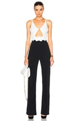 David Koma Zig Zag Waist Detail Jumpsuit In White Black White Black
