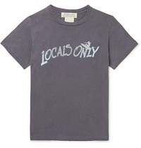 Remi Relief Distressed Printed Cotton Jersey T Shirt Gray