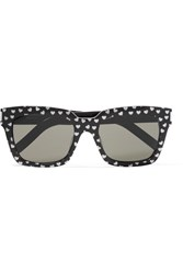 Saint Laurent Square Frame Glittered Acetate Sunglasses Black