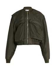 Katharine Hamnett At Ymc Padded Silk Bomber Jacket Khaki