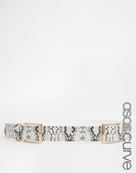 Asos Curve Snake Double Buckle Triangle Tipped Belt White