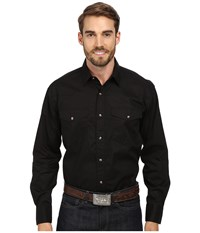 Roper L S Solid Basic Snap Front Black Long Sleeve Button Up