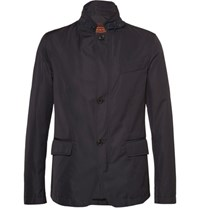 Tod's Suede Trimmed Shell Blazer Navy