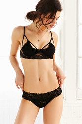 Urban Outfitters Zoe Lace Trimmed Thong Black