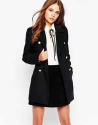 New Look Button Detail Pea Coat Navy