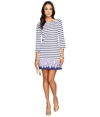 Lilly Pulitzer Bay Dress Bright Navy Serene Stripe Engineered Women's Dress Blue