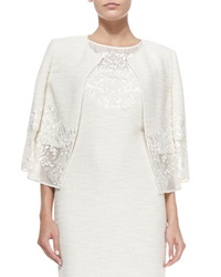 St. John Collection Lace Trimmed Sparkle Shantung Knit Jacket Cream Gold