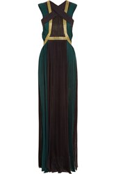 Balmain Leather Paneled Plisse Silk Crepe De Chine Gown Black
