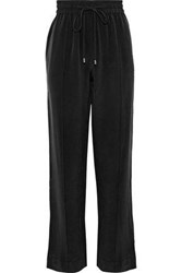Olivia Von Halle Gio Grosgrain Trimmed Washed Silk Track Pants Black