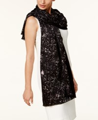 Inc International Concepts Metallic Print Wrap And Scarf In One Created For Macy's Black