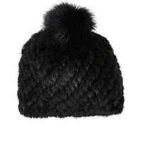 Barneys New York Women's Mink And Fox Fur Knit Beanie Black Blue Black Blue