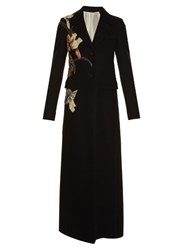 Valentino Kimono 1997 Applique Raw Edge Coat Black Multi