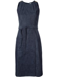 Tomas Maier Belted Denim Dress Blue