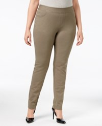 Inc International Concepts Plus Size Tummy Control Ponte Skinny Pants Only At Macy's Olive Drab