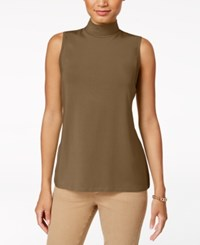 Charter Club Sleeveless Mock Neck Top Created For Macy's Salty Nut