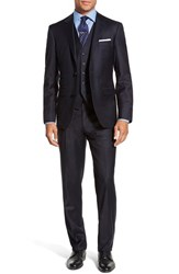 Men's Big And Tall Strong Suit 'Claymore Trim Fit Solid Wool Three Piece Suit