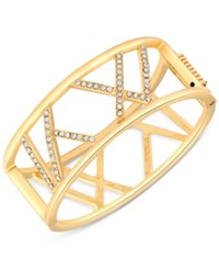 T Tahari Gold Tone Crystal Cut Out Hinged Bangle Bracelet