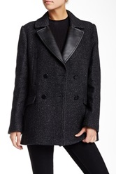 The Kooples Genuine Leather Trim Tweed Wool Blend Pea Coat Black