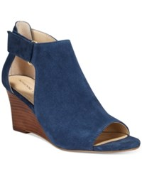 Adrienne Vittadini Riva Cutout Ankle Wedge Sandals Women's Shoes Navy