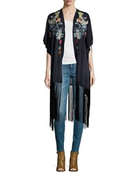 Johnny Was Argent Embroidered Kimono With Fringe Hem Women's Black